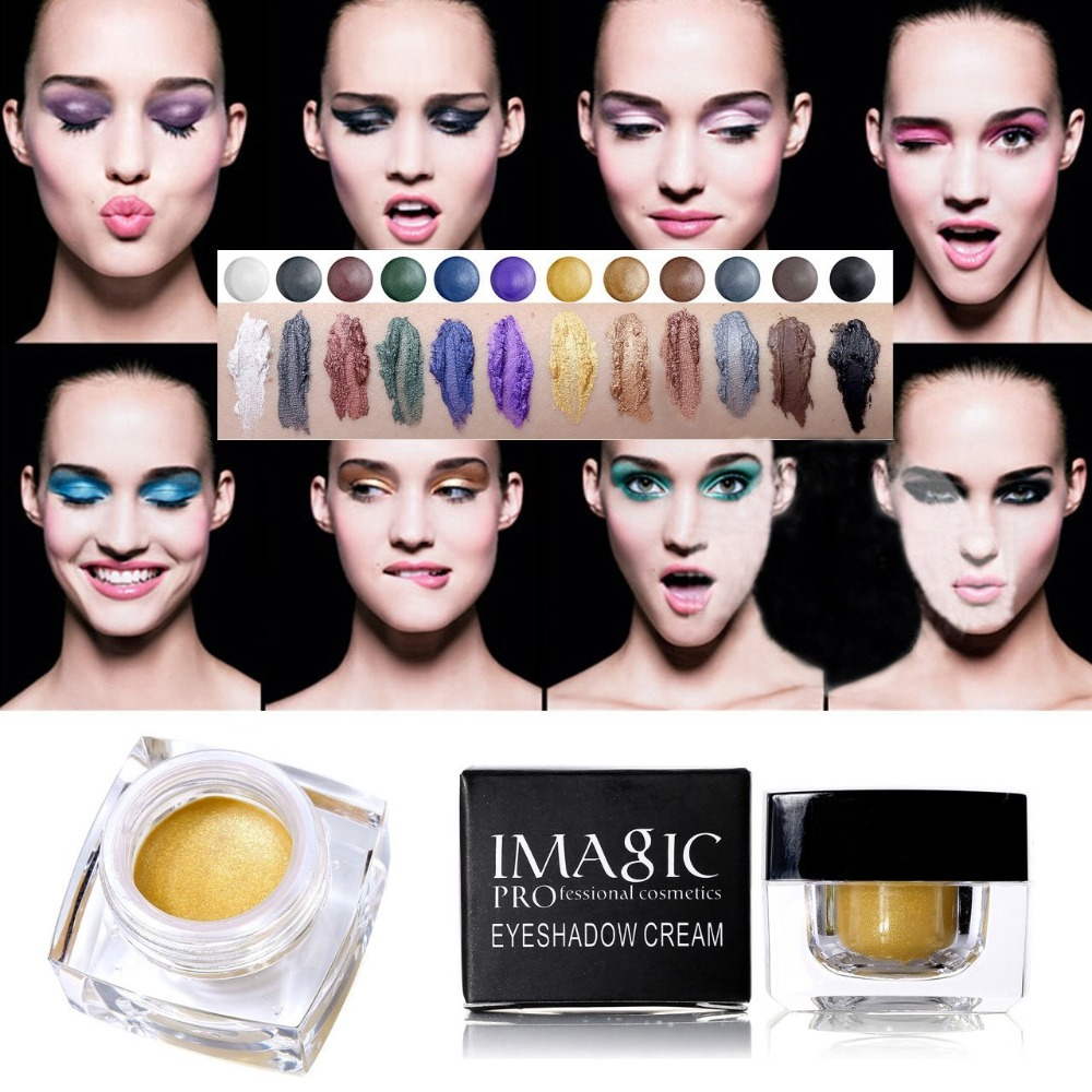 IMAGIC Profissional 12 Colors  Eye Shadow Cream Beauty Glitter Waterproof Long Lasting Shimmer Make Up Eye Shadow