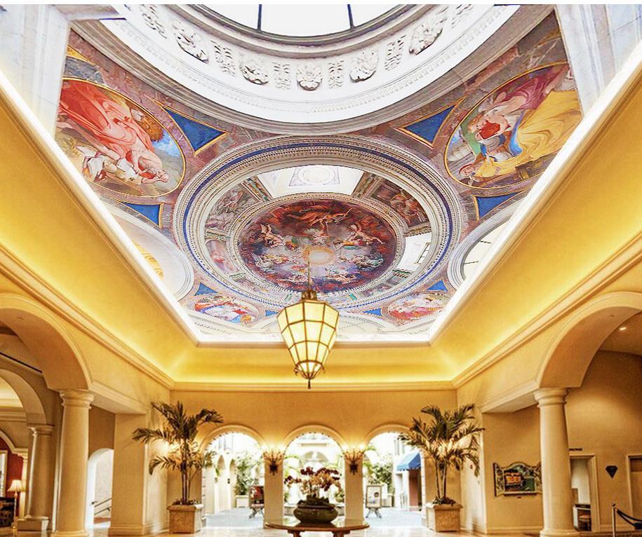 Bergaya Eropa Langit Langit Fresco Tiga Dimensi Lukisan Dekoratif