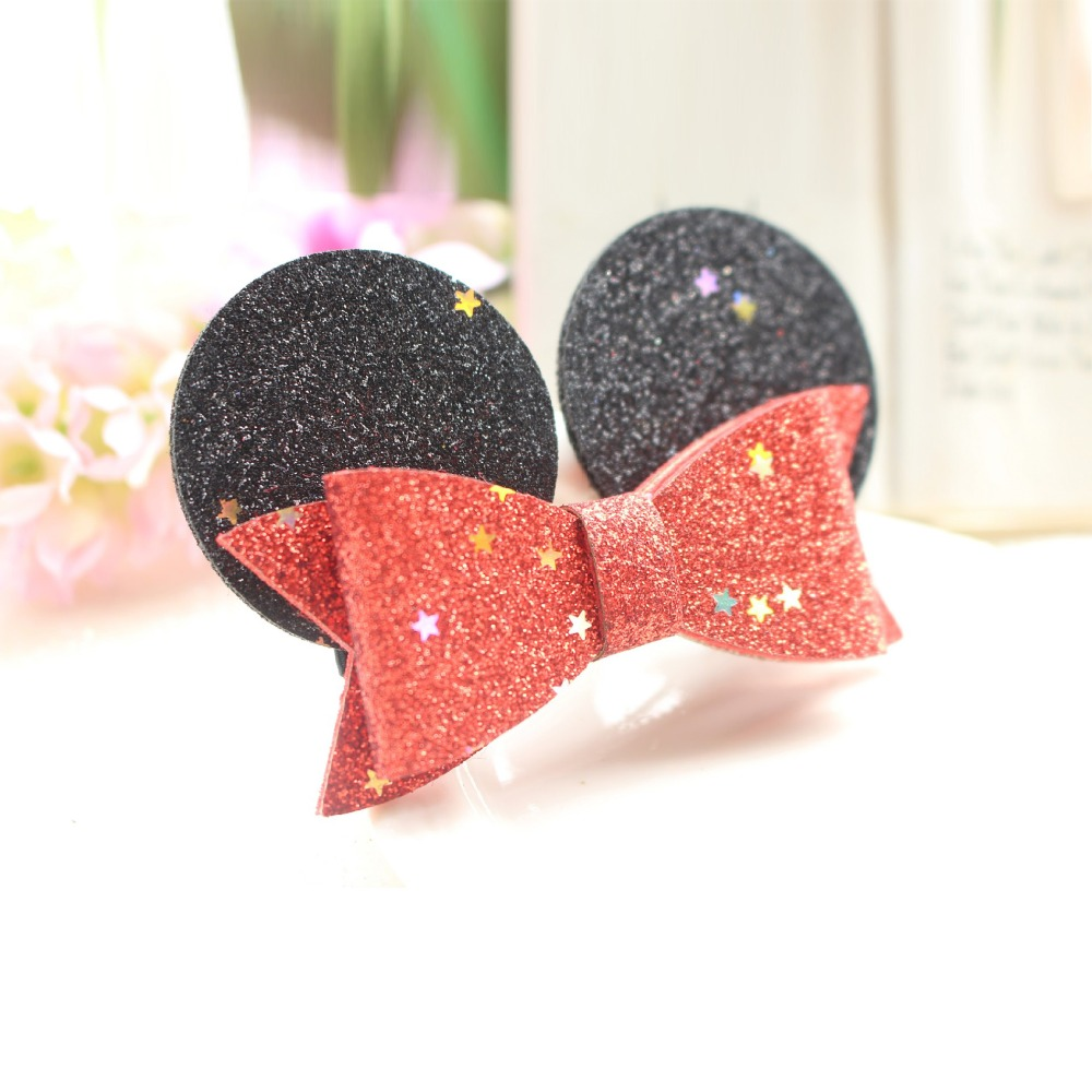 Cute Minnie Mickey Ears Children Hairpins Glitter bow knot Cartoon Barrettes kids girls handmade hair clips Accessories   headwear