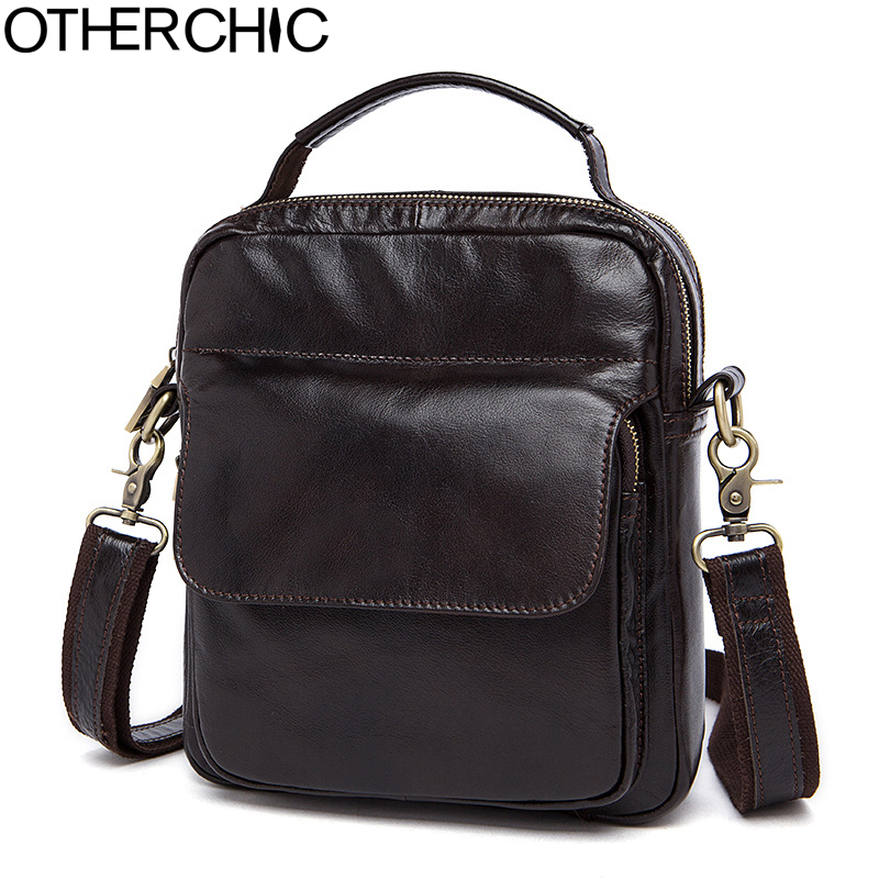 OTHERCHIC Genuine Leather Bags Men High Quality Messenger Bags Small Travel Bag Vintage Crossbody Shoulder Bag For Men 7N05-21 high quality vintage first layer 100% genuine leather men messenger bags handbag crossbody bag men s shoulder bags travel bag