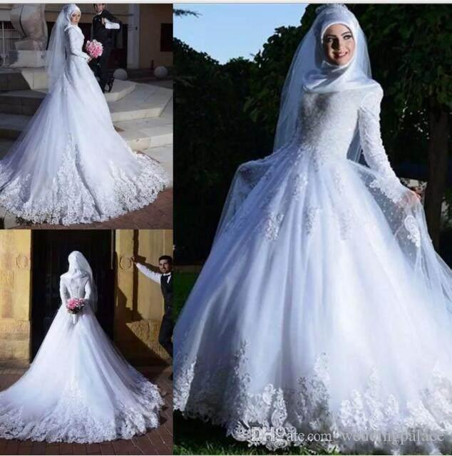 Muslim Wedding Dresses 2019 High Neck Long Sleeves Lace A Line Wedding Gowns Robe de mariee Custom Made Vestido de noiva