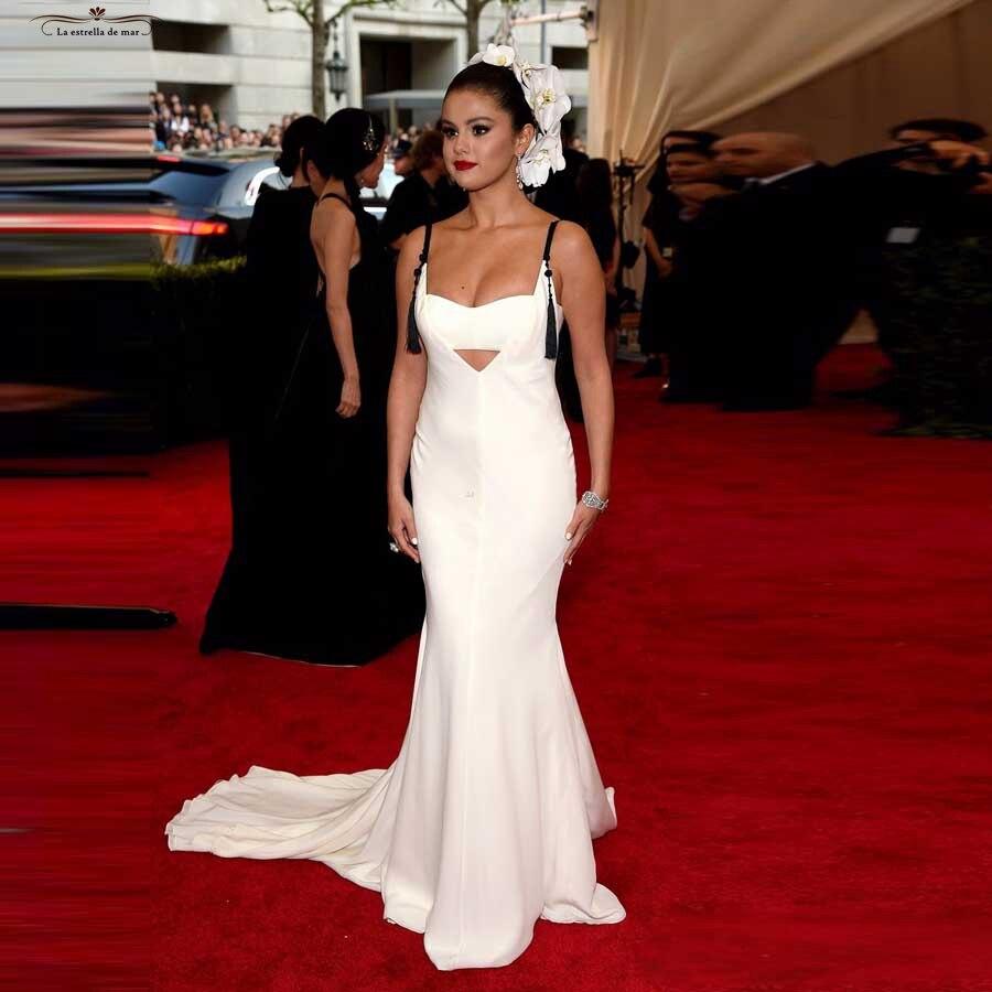 Selena Gomez Dress 2018 New Satin V Neck Back Y Mermaid White Oscar Awards Red Carpet Evening Gowns Long Beautiful Vestido On Aliexpress Alibaba