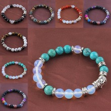 UMY Silver Plated Mixed Quartz Stone 8 mm Round Beads Stretch Religious Buddha Head Bracelet fenlu fl 083 double faced buddha head shaped bracelet silver
