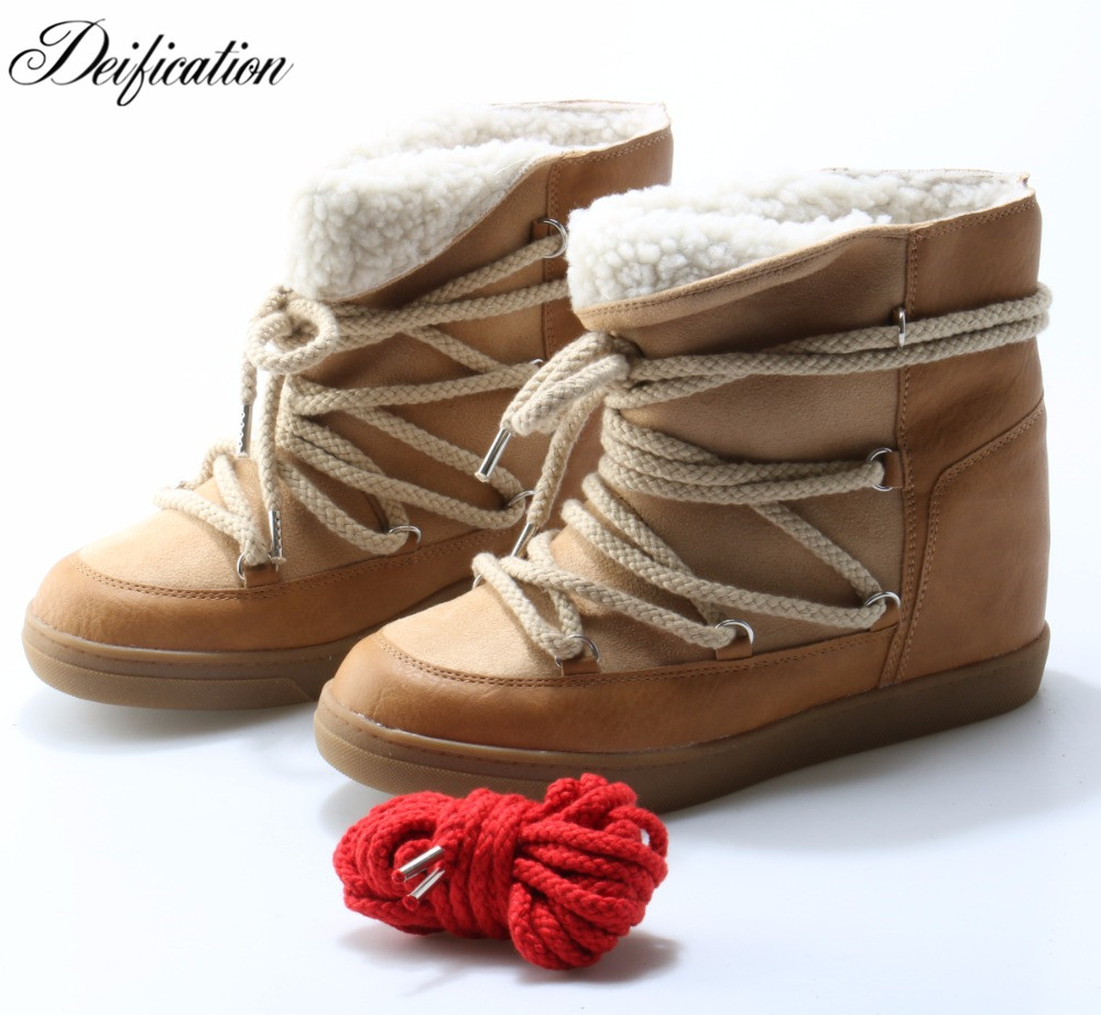 Deification Split Leather Winter Shoes Woman Warm Plush Booties Sweet Cross-Tied Women Booties Ankle Botas Mujer 2019