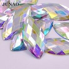 JUNAO – Strass AB cousus sur gros cristal, 30x62mm, pierres acryliques oeil de cheval, à dos plat, à appliquer, couture, gemmes en cristal
