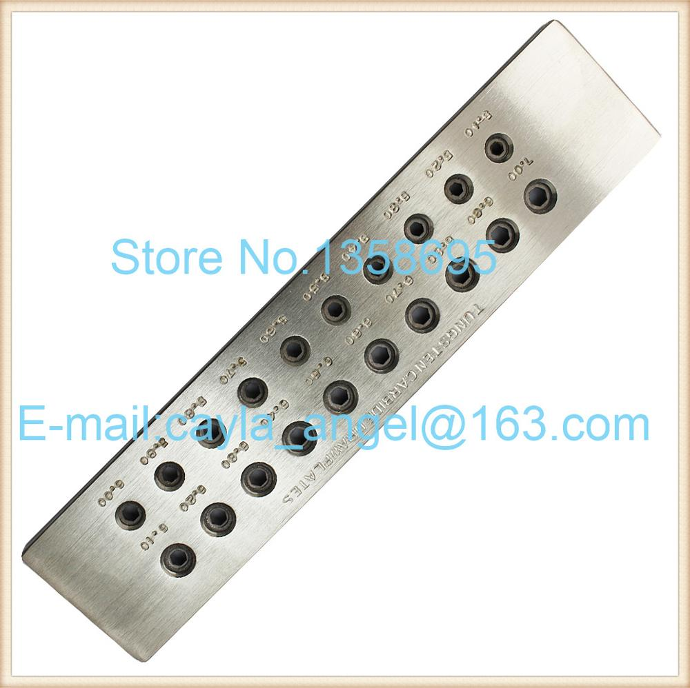 Hexagonal Shape Drawplates Metal Tungsten Carbide Wire Drawplate 20/30 Holes Jewelry Making Tools Fineness Dies Set