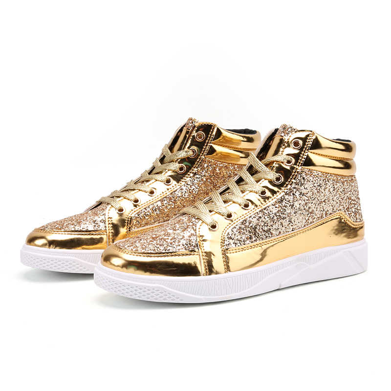 ... Valstone Hip Hop shoes Men leather casual sneakers Gold fashion  sneakers lace-up silver high ... 94dd56687a51