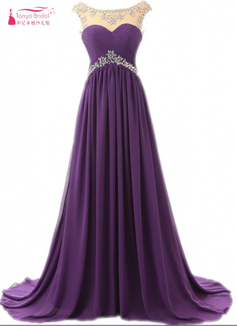Real Photos Grape Bridesmaid Dresses Long Chiffon Pleated Crystal ...