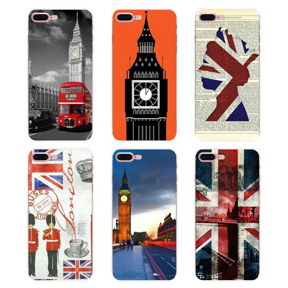 Silicone Bag Case For Huawei Honor 7X V10 6C V9 6A Play 9 Mate 10 Pro Y7 Y5 P8 P10 Lite Plus GR5 2017 england stlye Big ben flag