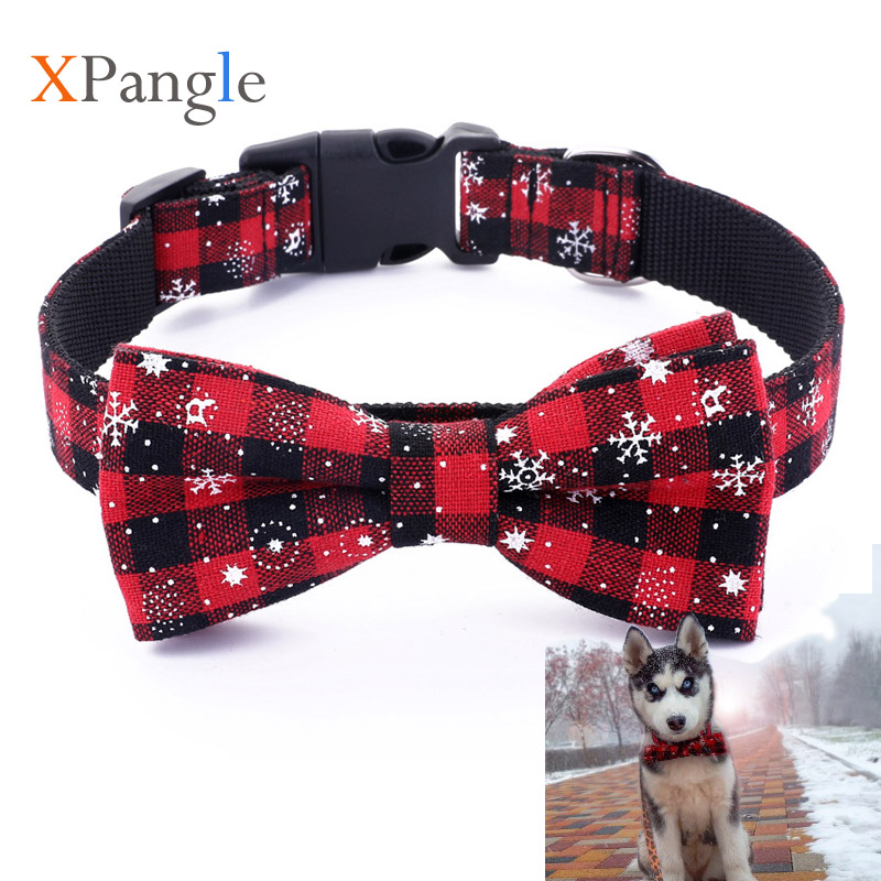 Bow Tie Pet Dog Collar Lattice Plaid Bow-knot Dog Cat Collar Snowflake Christmas Accessories for Chihuahua Puppy Pet Supplies plaid
