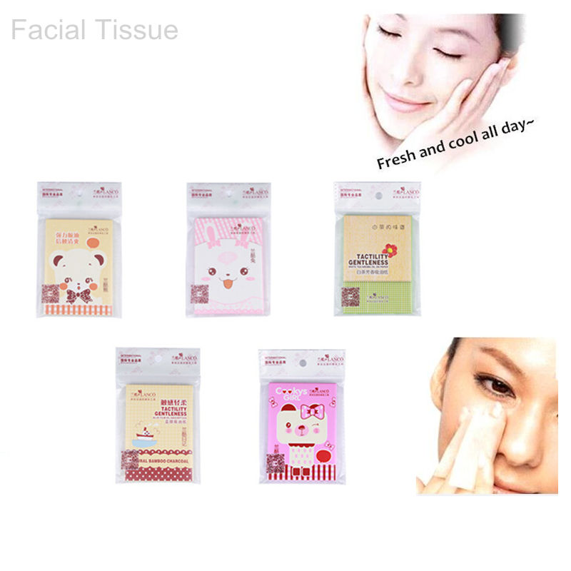 1 Pack 40 Sheet Facial Oil Control Absorption Paper Lock Water Face Tissue Oil Control Absorbent Paper Makeup Beauty Tools