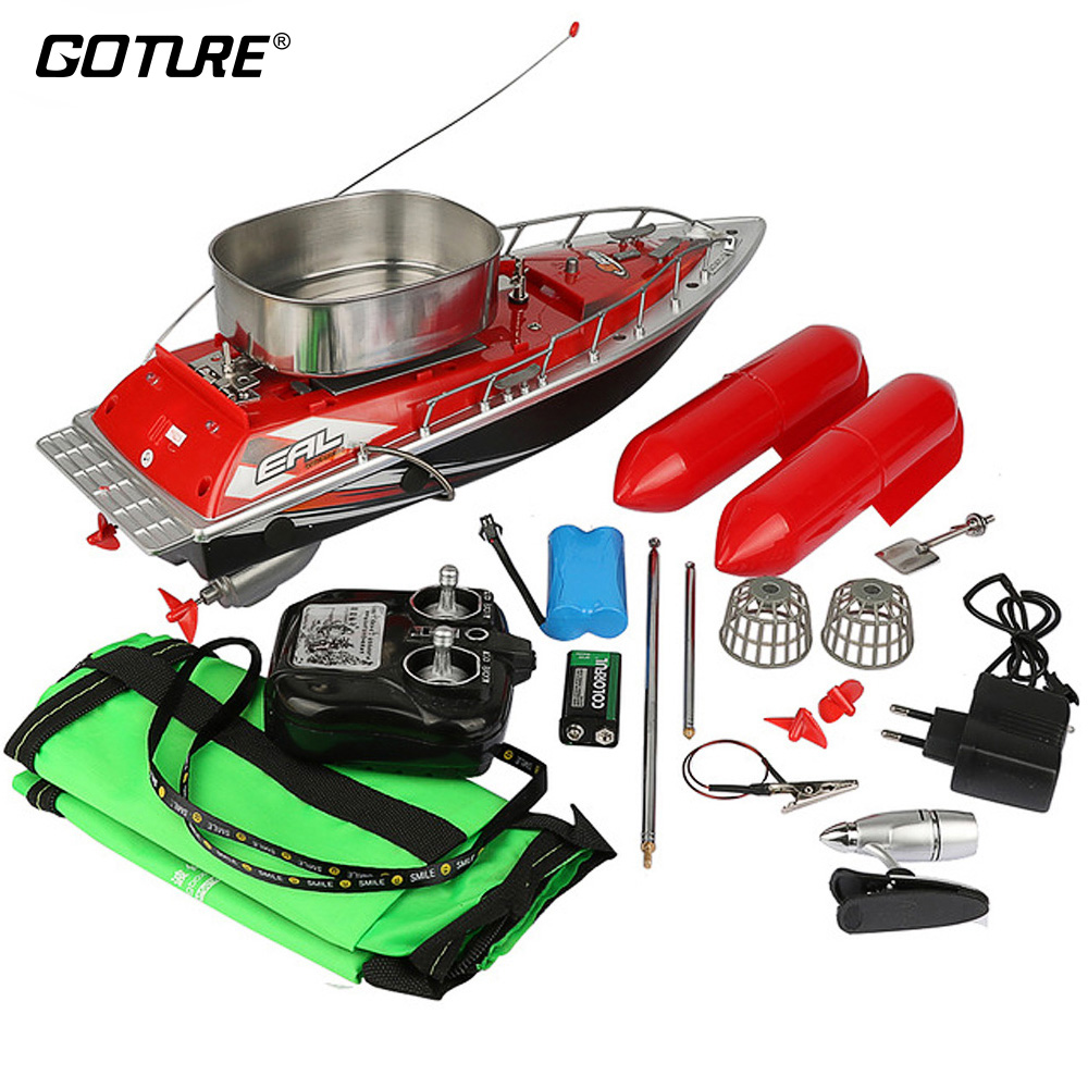 Goture Mini RC Remote Control Fishing Boat 200M Remote 5 7 Hour Red Green Color Fishing Bait Boat happy cow 777 218 remote control mini rc racing boat model