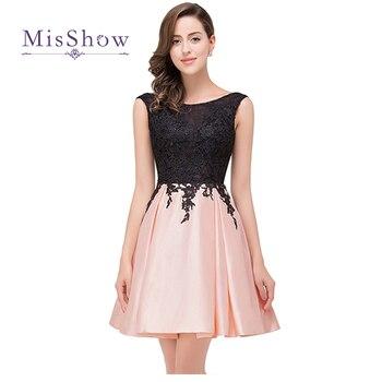 a968588d6 Traje de dama de honor baratos vestidos 2019 Rosa Borgoña Vestido corto de  satén de la longitud de la rodilla de fiesta de boda vestidos de baile