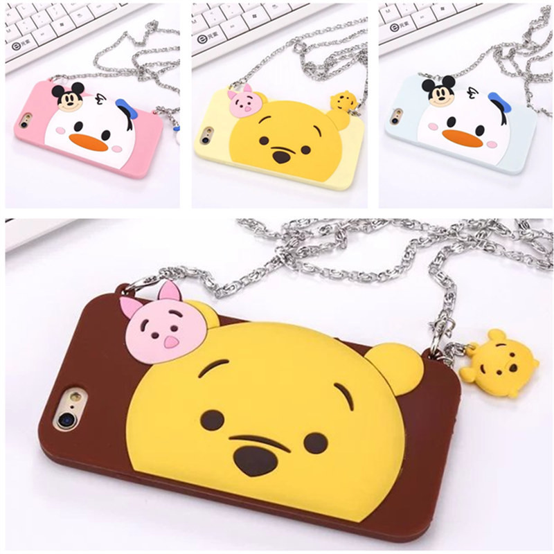 For iPhone 5 5S 6 6S plus 3D Cute Donald Duck Pooh bear Cartoon Animals Soft Silicone Phone Case Back Covers With Metal Chain