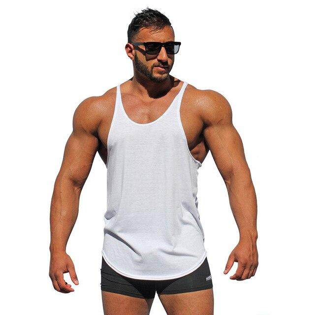 3009a2dcd1a24 Bodybuilding stringer tank tops men blank vest solid color gyms singlets  fitness undershirt men vest muscle sleeveless shirt