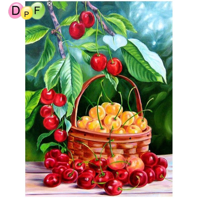 Dpf Diy Basket Of Red Jujube 5d Mosaic Square Diamond
