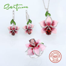 Flower Jewelry Set Enamel Pink Flower Jewelry Cubic Ziconia Rings Earrings Pendent 925 Sterling Silver Jewelry Set for Women
