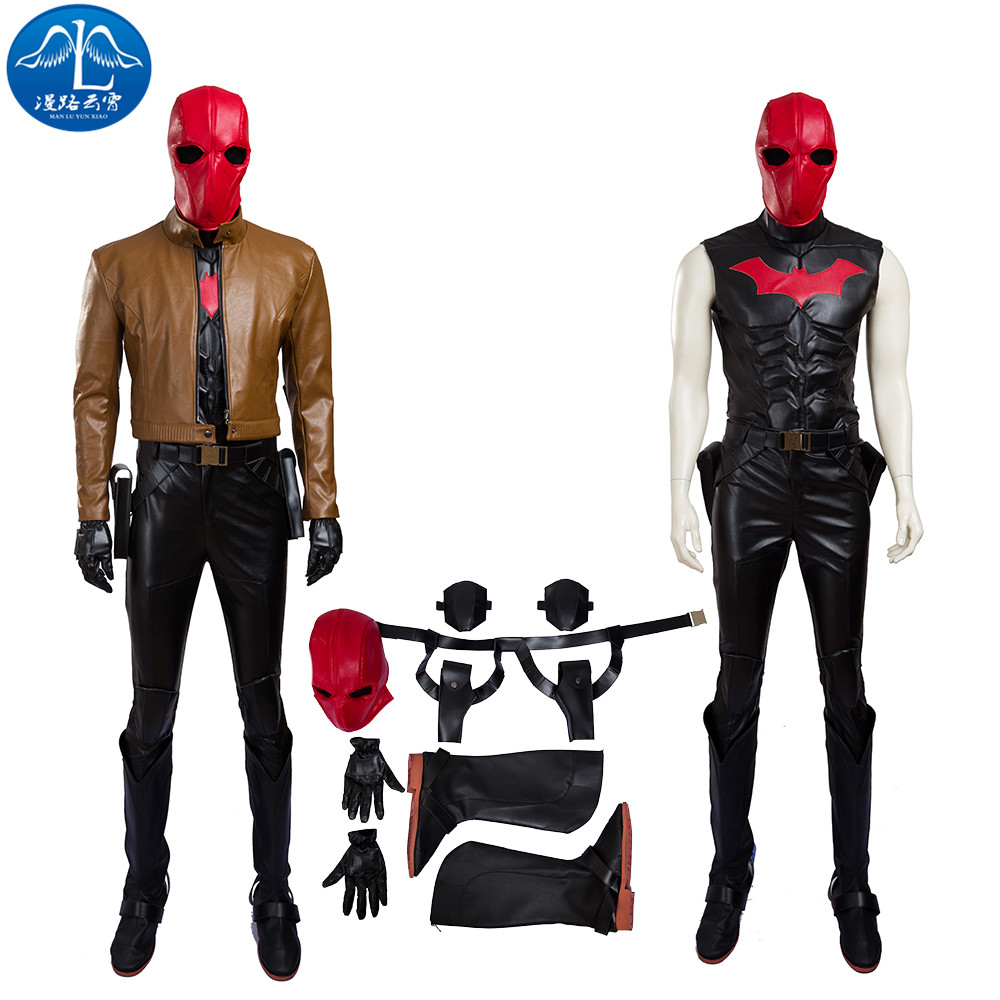 ManLuYunXiao Batman Red Hood Cosplay Costume Adult Halloween Costume For Men Superhero Red Hood Costume For Adult Custom Made