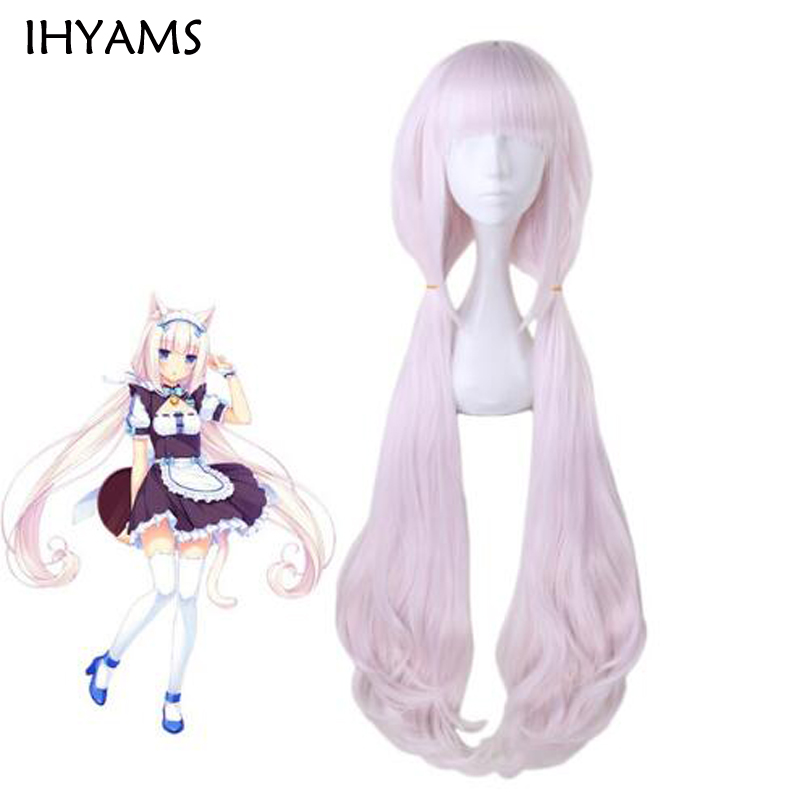 Anime Nekopara Chocolat Vanilla Wig Cosplay Wigs 100cm Pink Long Heat Resistant Synthetic Hair Wigs + Wig Cap