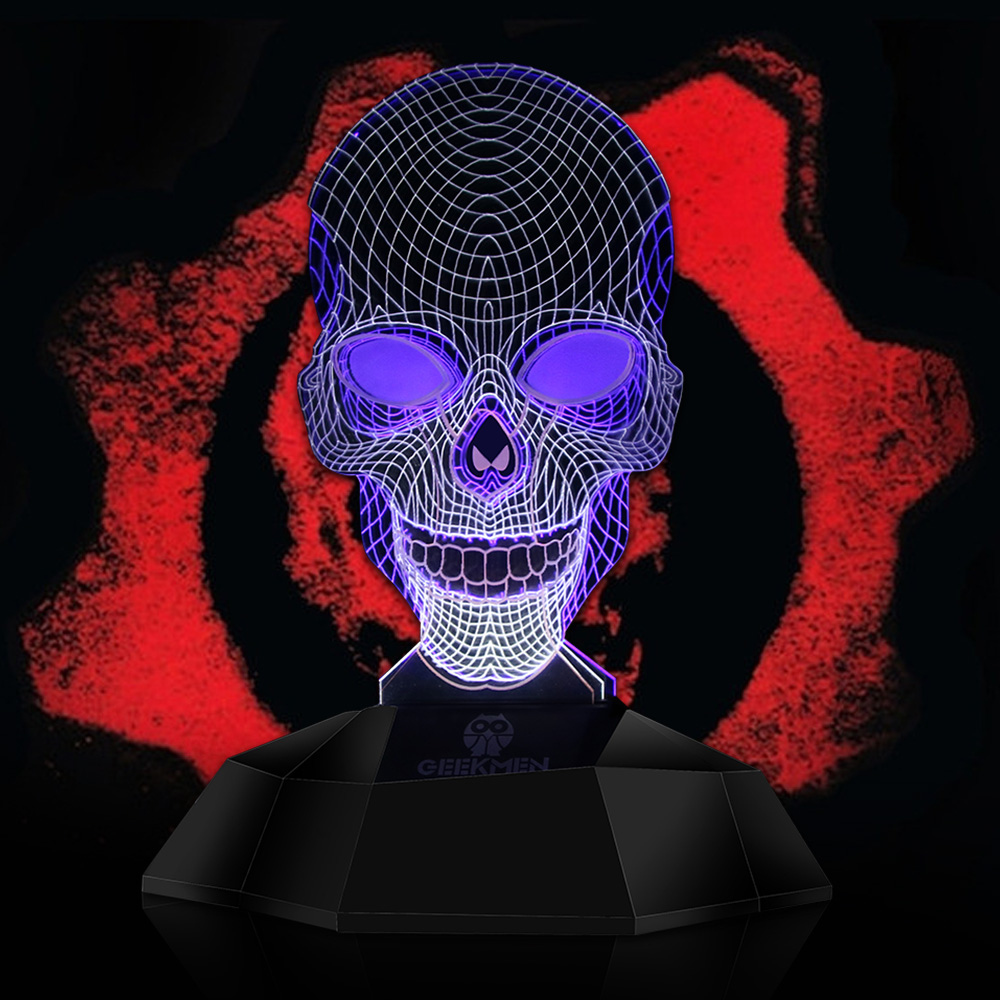 Novelty 3D Skeleton Lighting Art Geometric Skull 3D Line Lamp Skeleton USB Table Lamp Desk Light 3D Effect Lights Halloween Gift