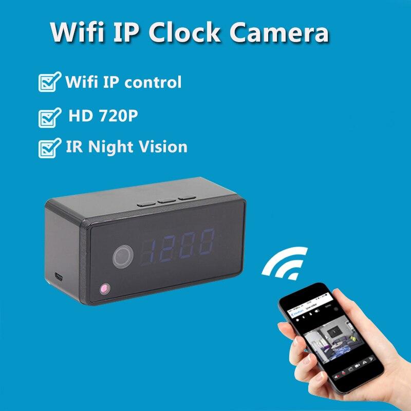 Wi-Fi IP мини Камера сигнализации часы Камера Беспроводной 720 P HD настольные часы Камера инфракрасный Ночное видение Mini DV DVR cam