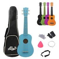 21 Inch Professional Ukulele Basswood Pure Color 4 Strings Guitar Ukelele Musical Instrument with Bag Tuner Picks Strap