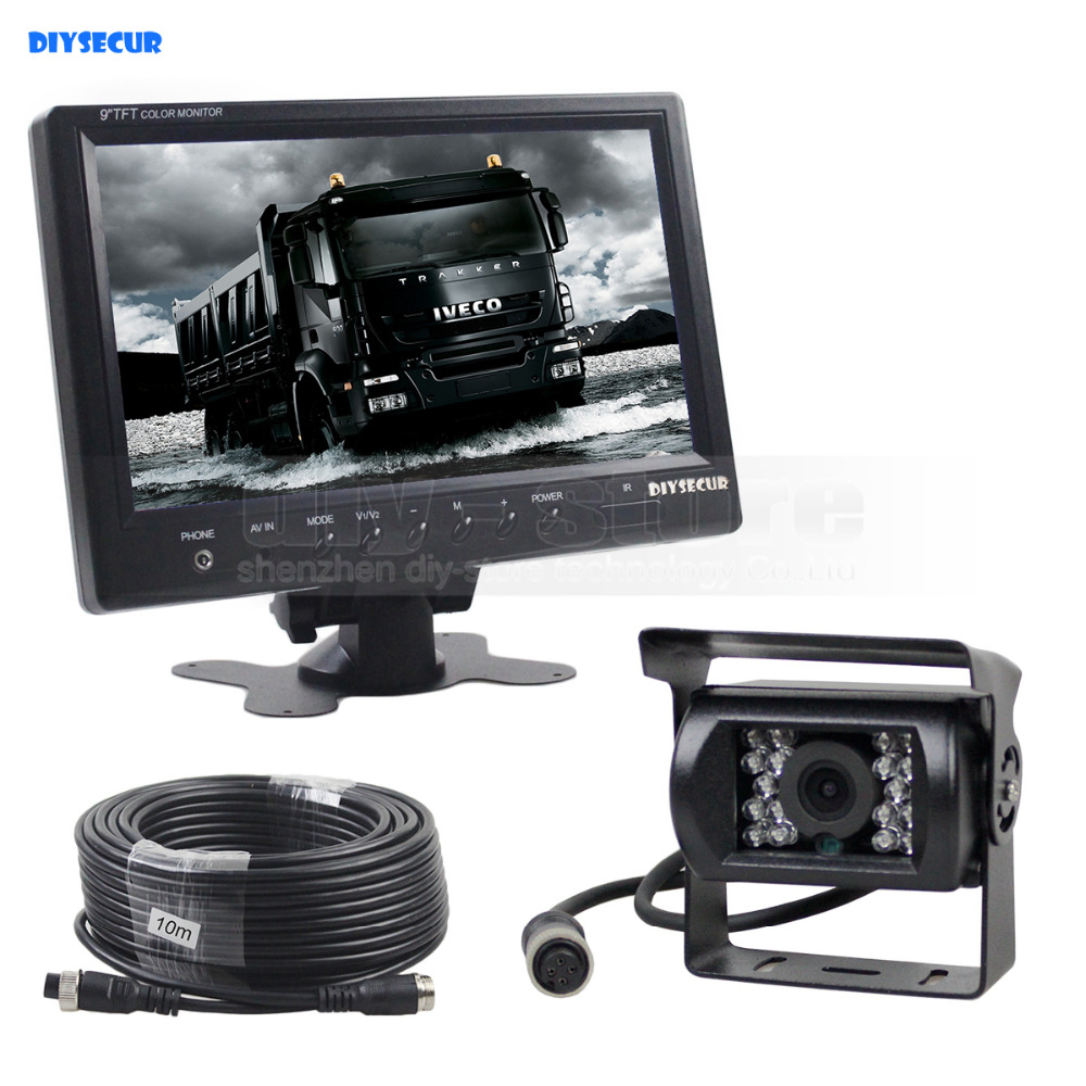 DIYSECUR Wired 9inch Car Monitor Rear View Monitor Waterproof IR CCD Camera Parking Accessories for Bus Horse Trailer Motorhome diykit wired 12v 24v dc 9 car monitor rear view kit backup waterproof ccd camera system kit for bus horse trailer motorhome