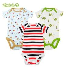 3Pcs Baby Bodysuit Short Sleeves Kids Clothes Boys Summer Infant Jumpsuit Baby Clothing Sleepwear Newborn Girls Body Bebes