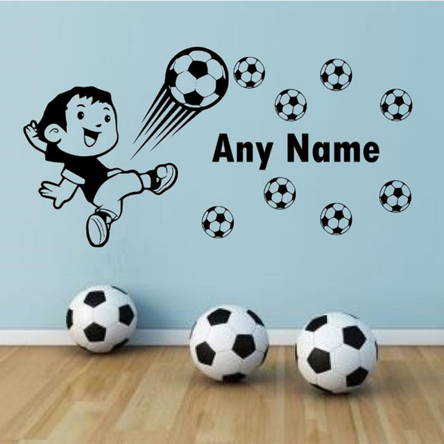 Personalised Football Vinyl Wall Sticker Any Name Wall Art Decal ...