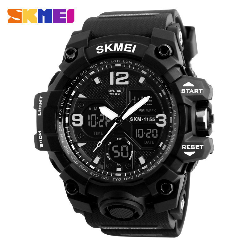 SKMEI New Fashion Men Sports Watches Men Quartz Analog LED Digital Clock Man Military 50m Waterproof Watch Male Watch G Shock