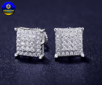 Hip Hop Screw Backs Square Earrings Pave Aaa Cubic Zirconia For Man Women