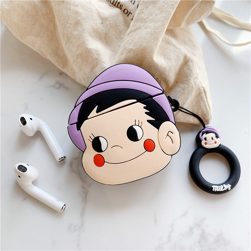Cartoon Milk Girl Soft Silicone Case For Apple Airpods Shockproof Cover For Air Pods Earphone Cases Cute Air Pods Protector Case in Earphone Accessories from Consumer Electronics