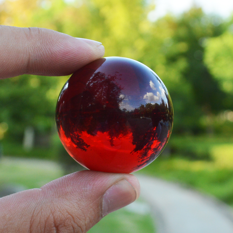 JQJ 4 cm Red Crystal Lens Ball Home Desk Fengshui Ornaments Terrarium Decor Sphere Glass Marbles Balls Globe Crafts Kids Gifts