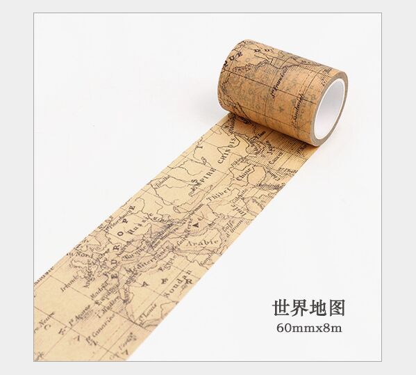60mm Vintage Hemisphere Map World Map Gothic Age Decoration Planner Washi Tape DIY Diary Scrapbooking Masking Tape Escolar