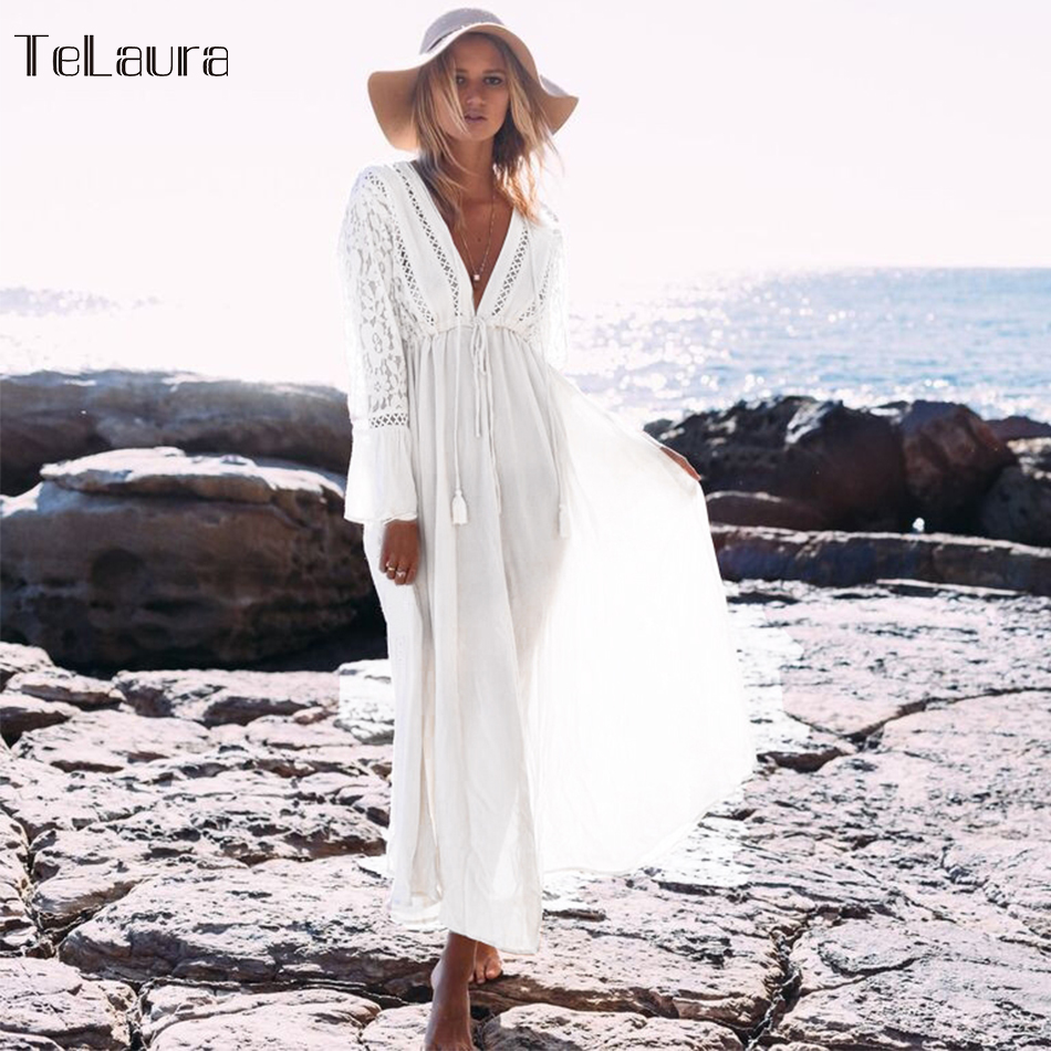 Image 2 - 2019 Sexy Beach Cover Up Swimsuit White V Neck Hollow Out Beach Long Dress Women Bikini Swimwear Bathing Suit Summer Beach Tunic-in Cover-Ups from Sports & Entertainment