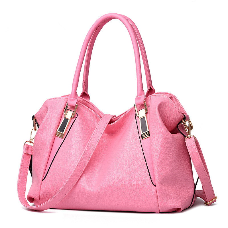 Elegant Pink Fashion PU Women Handbag Classic Office Lady Shoulder Bag Crossbody Messenger Zipper fashion elegant m