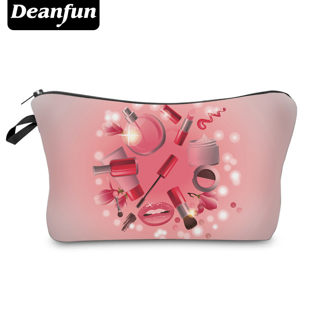Deanfun 3D Printing Cosmetic Bag  New Fashion Polyester Pink Zipper Necessarys For Women Makeup Travel Organizer 50749