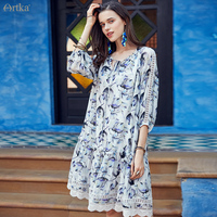 76a5da1e768f2c4 ARTKA 2019 Spring Summer New Women Dress 100 Cotton A Line Fashion Loose  Elegant Dress Lady