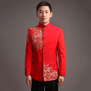 Czerwona tunika mężczyźni satynowa bluzka topy tradycyjne chińskie tunika garnitury dla mężczyzn odzież na strój tang tai chi kostium orientalny top tanie i dobre opinie COTTON Poliester ZO745 Szata suknia IDEASKY