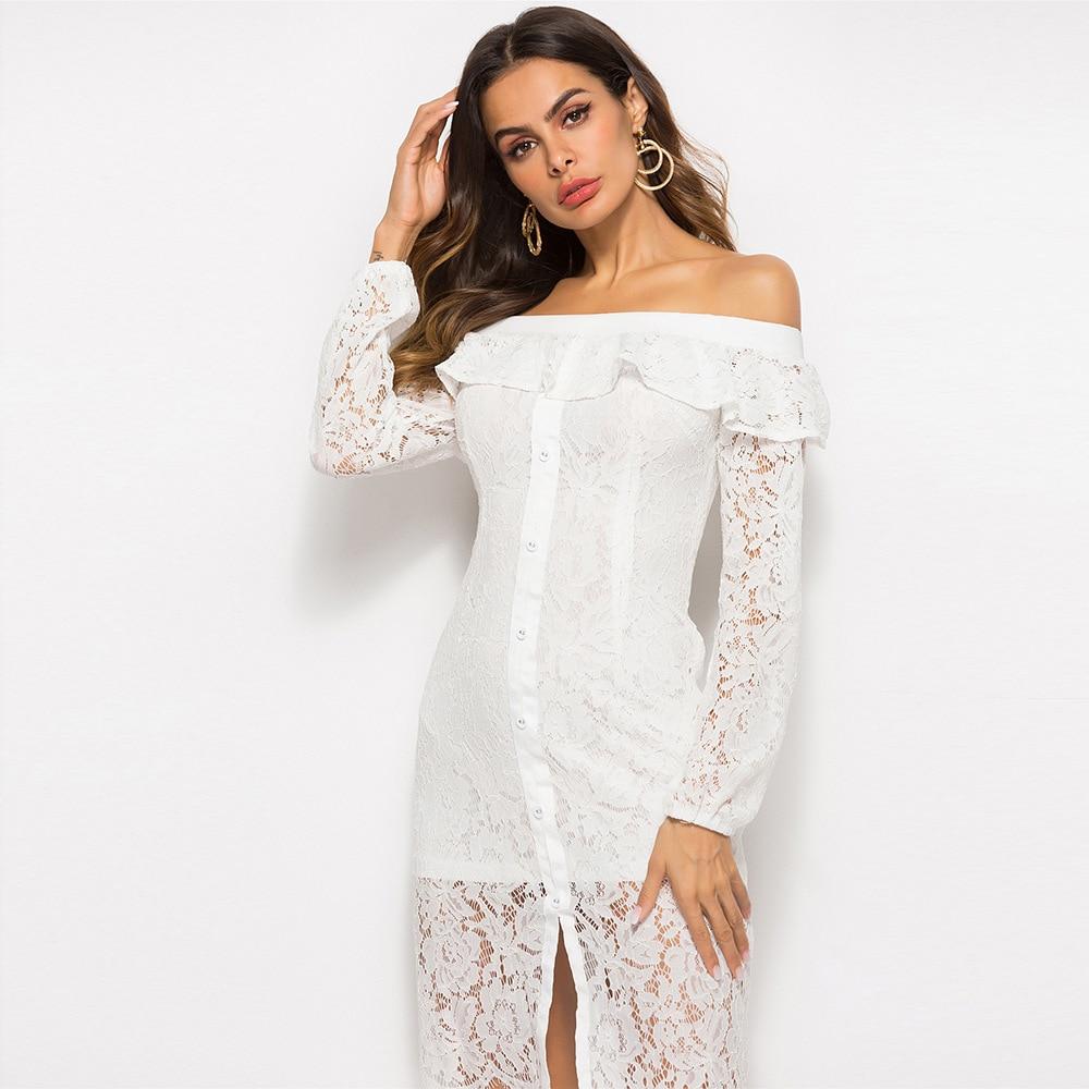 Longue Automne Parti Maxi Slash white Robe Plus La Taille Casual Sexy Vêtements Dames Sosaeg Blanc Élégant Dentelle Leaf Robes Black Dress Dress Femmes 345jARLq