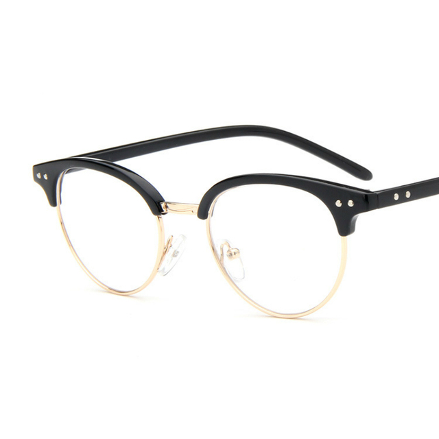 New Retro Round Antique Glasses Frames Male Full Frame Metal black ...