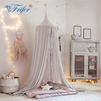 Round Dome Baby Tent Pure Color Crib Netting Palace Children Room Bed Curtain Kids Girls Mantle