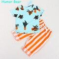 Humor Bear Boys Clothing Sets Brand Boys Clothes 2017 Summer Fashion Style T-Shirts+Stripe Pant 2PCS Boys Clothes