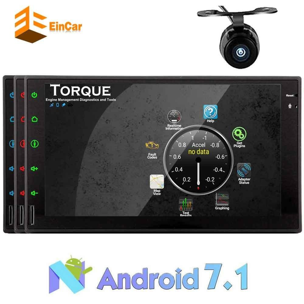 2DIN Android 7 1 car AUTO audio touch screen multimedia receiver Bluetooth support WIFI OBD2 MirrorLink