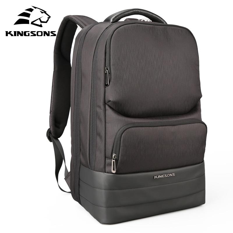 все цены на Kingsons 15.6 inch 2.0 USB Recharging Men Laptop Backpack Large Capacity Wear-resistant School Bags Business Travel Backpacks