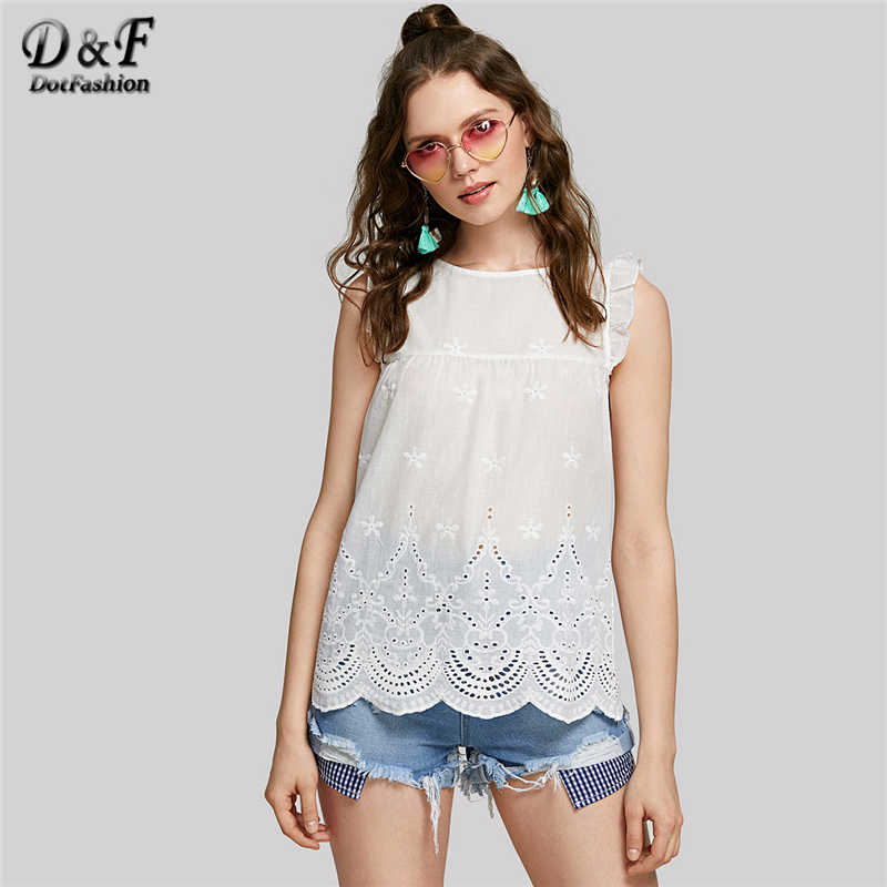a981832730c3c2 ... Dotfashion Eyelet Embroidered Scallop Hem Frilled Shell Top Women Round  Neck Sleeveless Blouse 2019 White Cotton ...