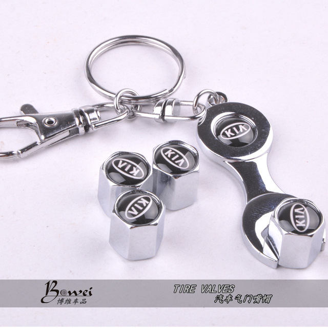 New Hot Sale Car Wheel Tire Valve Caps with Mini Wrench & Keychain For KIA (4-Piece/Pack)