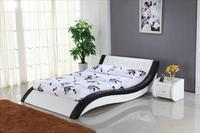 Белый кожаный кровать с Пояса из натуральной кожи, мягкая кровать king size, современный Дизайн Мебель для спальни B101