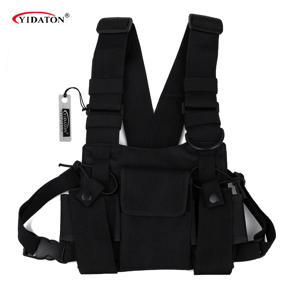 Chest Bag Universal Radio Carry Case for Walkie Talkie Chest Pocket Black Backpack for Radio Comunicador For Double Radios iPhone 8