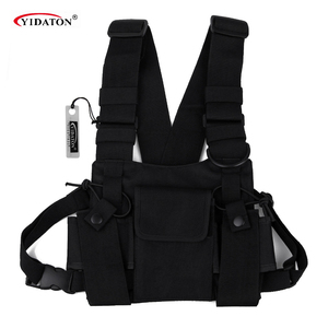 Image 1 - Chest Bag Universal Radio Carry Case for Walkie Talkie Chest Pocket Black Backpack for Radio Comunicador For Double Radios